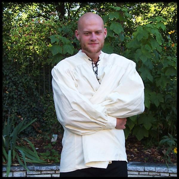 Schnürhemd mit Stehkragen - 100 % Baumwolle - Mittelalter und LARP Gewand Maßanfertigung