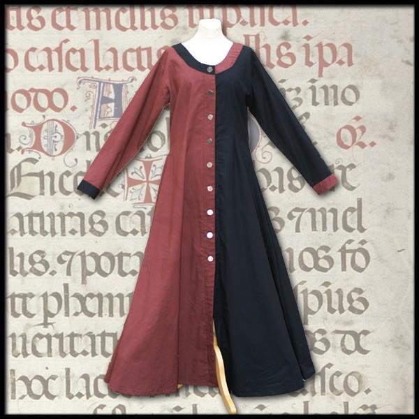 Spätmittelalterliches Kleid, geknöpft, mi-parti, 100 % Leinen - Mittelalter und LARP Gewand Maßanfe