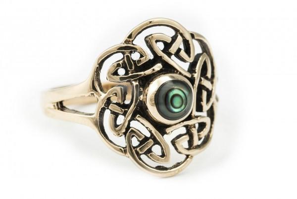 Keltischer Bronze Ring 'Tavia' Paua Muschel