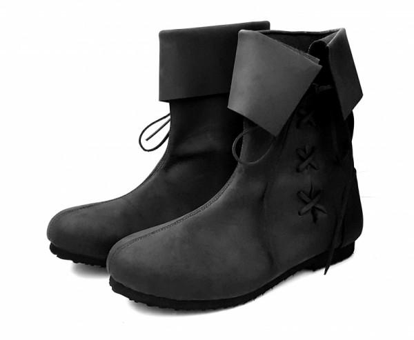 Mittelalter Stulpenstiefel aus Nubukleder schwarz - Mittelalterliches Schuhwerk
