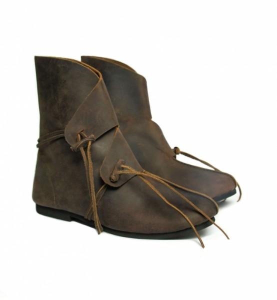 Wikingerstiefel aus Leder braun Mittelalterliches Schuhwerk