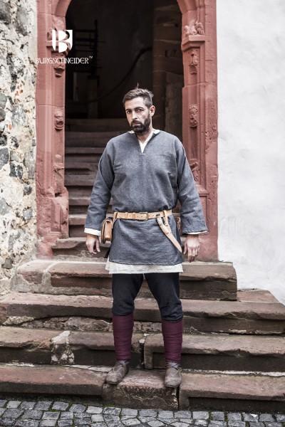 Kurztunika Erik, Grau Mittelalterliches vom Burgschneider
