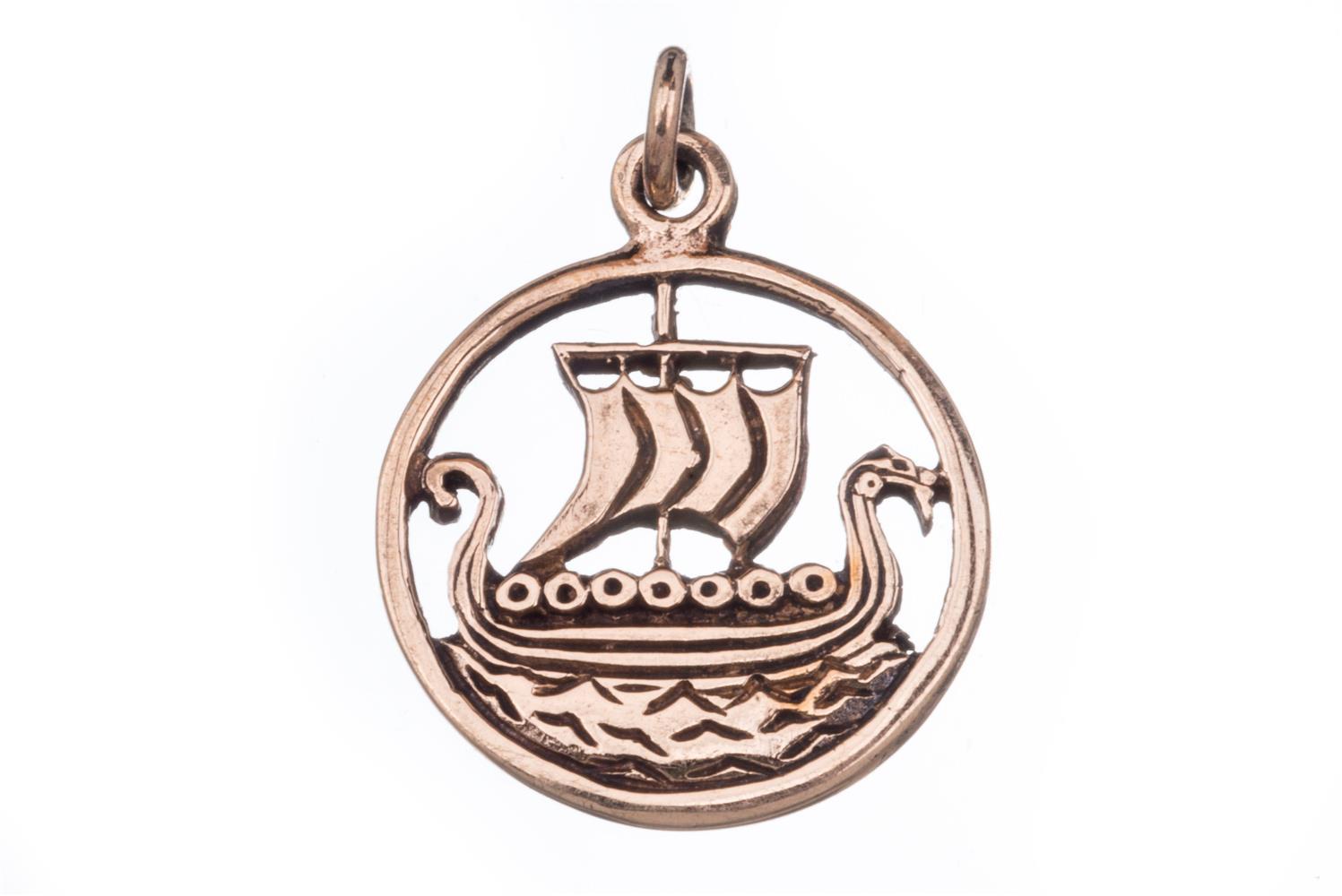 Wikinger Anhänger 'Svold Drachenschiff' aus Bronze Mittelalter, Larp, Reenactment Schmuck