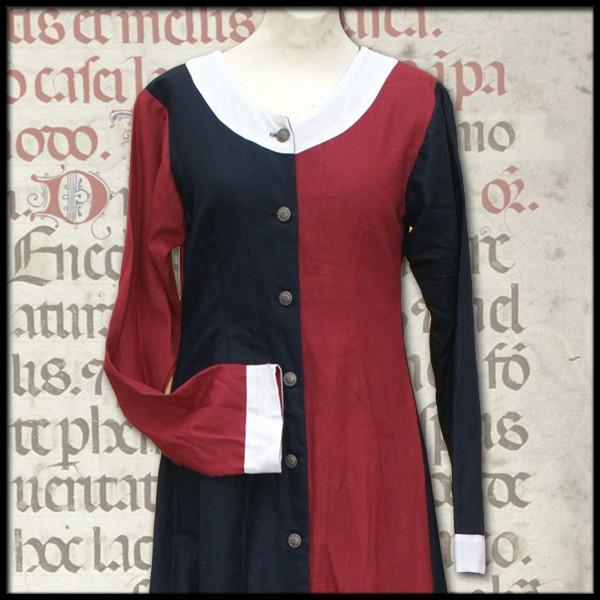 Spätmittelalterliches Kleid, geknöpft, mi-parti, 100 % Baumwolle Mittelalter und LARP Gewand Maßanfe