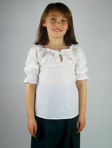 Mädchen Bluse kurzärmelig - Kostüm Gewand für Mittelalter, Larp & Reenactment Kinder