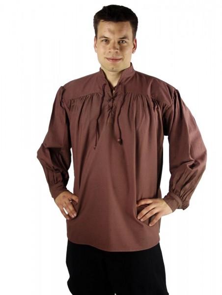 Stehkragen Schnürhemd dunkelbraun