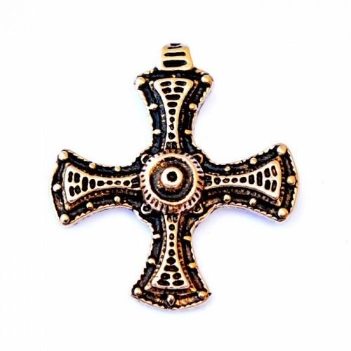 Bronze Anhänger 'Cuthbert Kreuz' - Accessoire, Schmuck für Mittelalter, LARP und Alltag