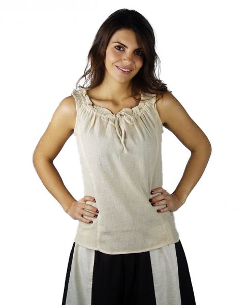 Ärmellose Mittelalter Bluse Baumwolle