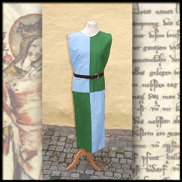 Einfacher Wappenrock geviert - 100 % Baumwolle - Mittelalter und LARP Gewand Maßanfertigung