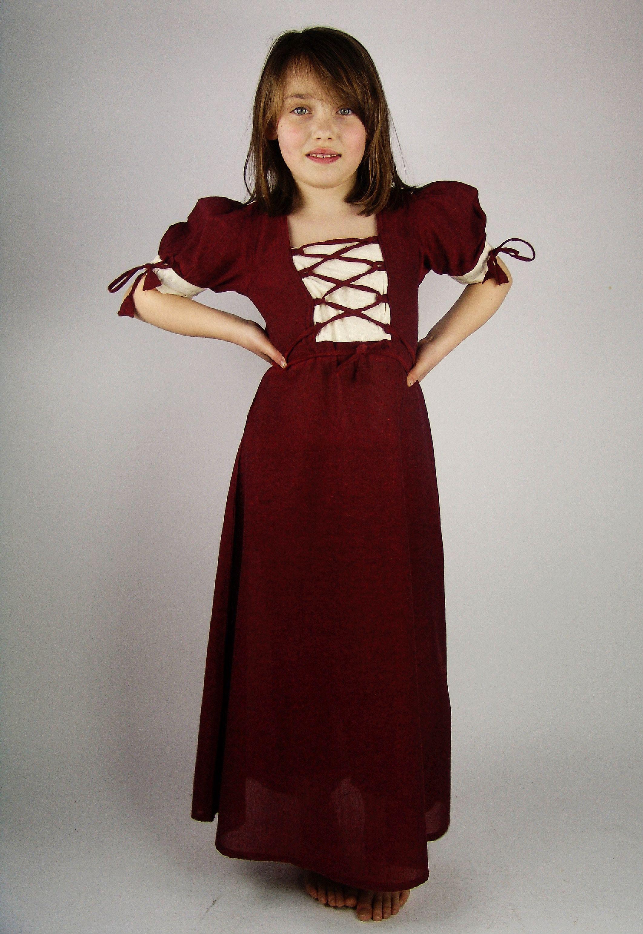 Mittelalterkleid 'Kirsten' mit kurzen Ärmeln und Schnürung ...