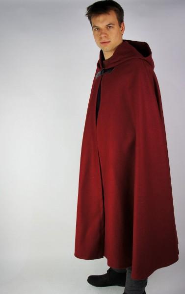 Umhang mit Metallspange Mantel Halbkreismantel aus Wolle - Gewand für Mittelalter, Larp und Reenactm