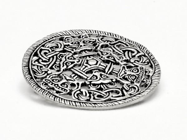 Wikinger Scheibenfibel im Borrestil Bronze