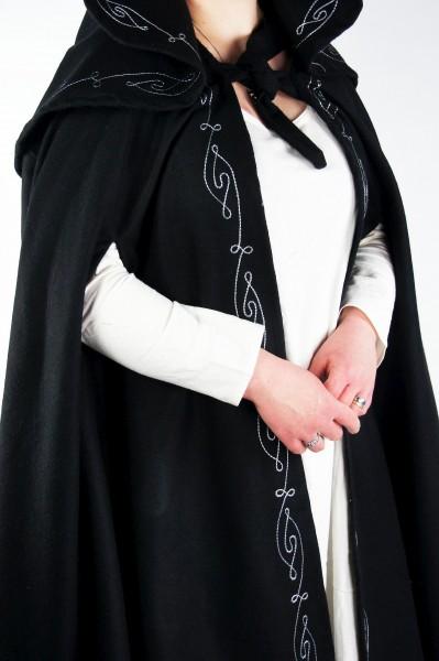 Umhang bestickt mit großer Kapuze - Wollumhang Gewand für Larp und Mittelalter