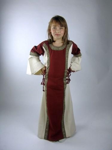 Mädchen Kleid mit Schnürung und Borte - Kostüm Gewand für Mittelalter, Larp & Reenactment Kinder