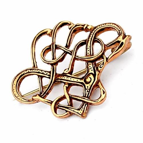Wikinger Drachen Fibel aus Trollaskogur Urnesstil Bronze