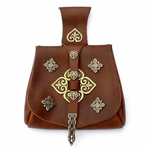 Wikinger Tasche Birka mit zahlreichen Beschlägen Accessoire für Mittelalter Kostüme, Reenactment und