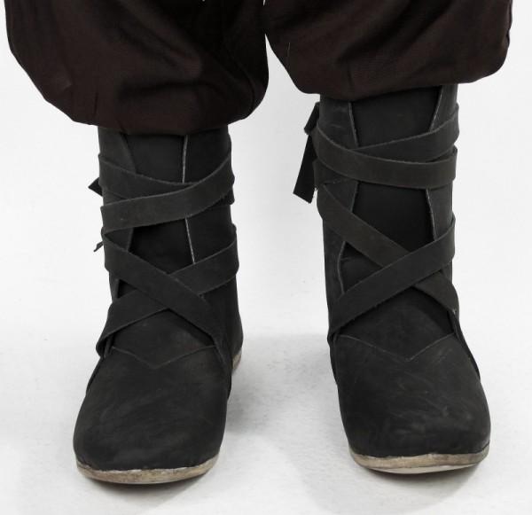 Wikingerstiefel Haithabu aus Nubukleder schwarz mit Ledersohle - Mittelalterliches Schuhwerk