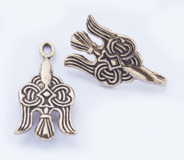 Wikinger Gewandschließe mit Raben aus Bronze für Mittelalter, Reenactment und Larp