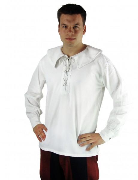 Rundkragen Hemd Musketierhemd