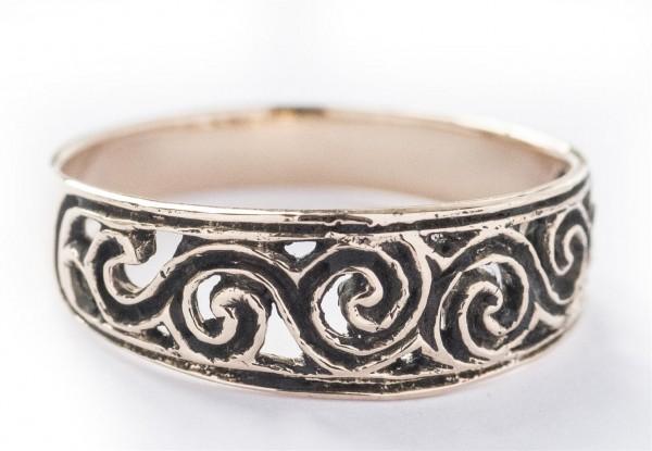 Newgrange Bronze Ring im keltischen Stil - Schmuck Accessoire für Historische Gewandungen, Reenactme