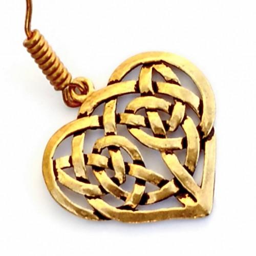 Paar Bronzeohrringe 'Keltisches Herz' - Accessoire, Schmuck für Mittelalter, LARP und Alltag