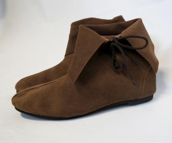 Mittelalter Halbstiefel mit Stulpe braun - Mittelalterliches Schuhwerk