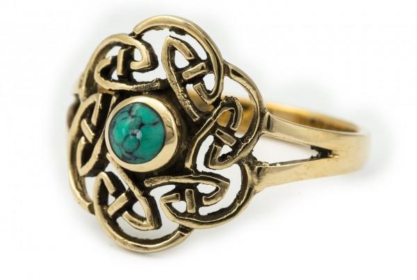 Keltischer Bronze Ring 'Tavia' Türkis