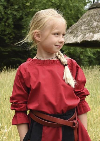 Kinder Mittelalterbluse Helena rot, Baumwolle - Gewand für Mittelalter, Larp und Reenactment