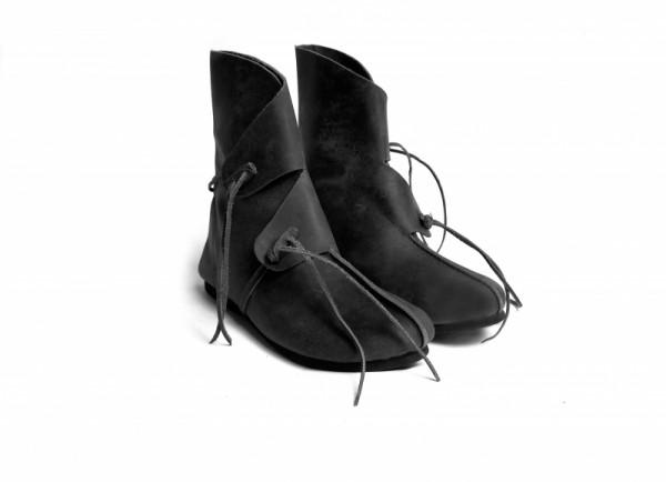 Wikingerstiefel aus Leder schwarz - Mittelalterliches Schuhwerk