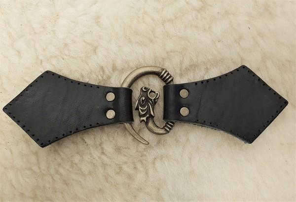 Drachenkopf Leder aufnähbar genietet Mantelverschluss altmessingfarben