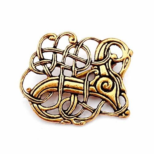 Wikinger Fibel aus Lindholm Hoeje Urnesstil Bronze