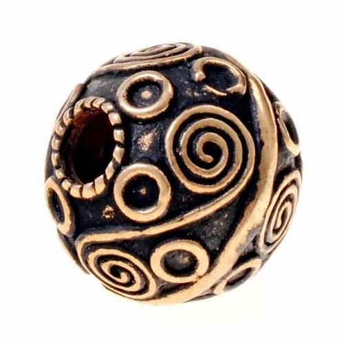 Wikinger Perle Nr. 8 Granulationstechnik Bronze oder Bronze versilbert