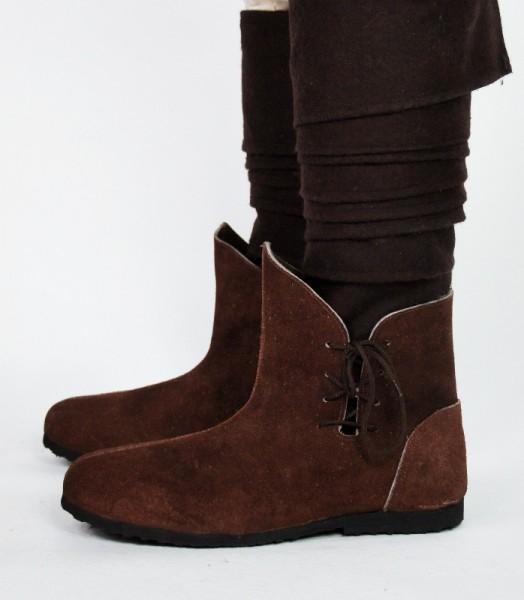 Mittelalter Halbstiefel aus Wildleder braun - Mittelalterliches Schuhwerk