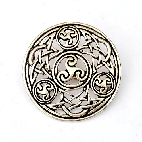 Iro-Keltische Brosche mit Knotenflechtwerk 5 cm - Accessoire für Mittelalter Gewandung, Historisches