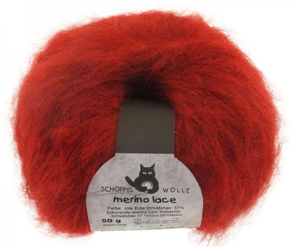 Merino Lace ''Rote Erde'' 57% Wolle, 23% Polyamid, 20% Mohair