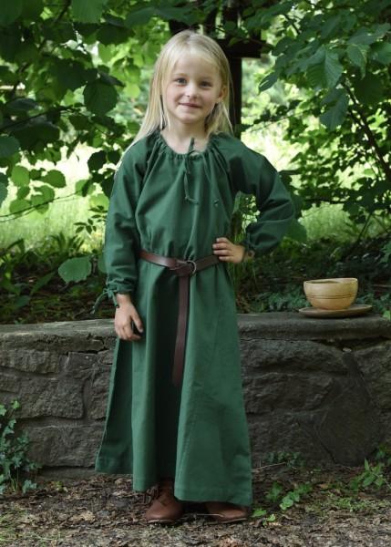 Kinder Mittelalterkleid Ana grün100% Baumwolle - Gewand für Mittelalter, Larp und Reenactment