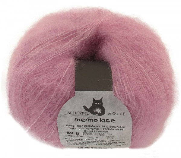 Merino Lace ''Rosé'' 57% Wolle, 23% Polyamid, 20% Mohair