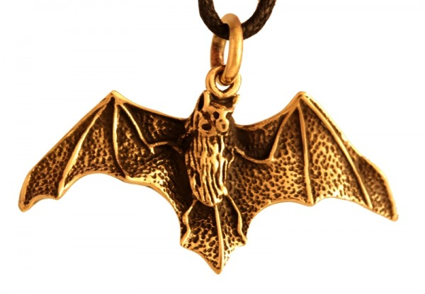 Amulett, Anhänger 'Arcania - Fledermaus' aus Bronze - Mittelalter, Larp, Fantasy Schmuck