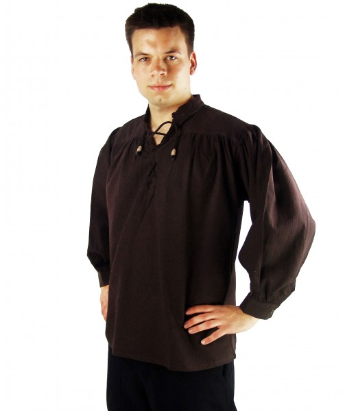 Mittelalter Stehkragen Schnürhemd braun