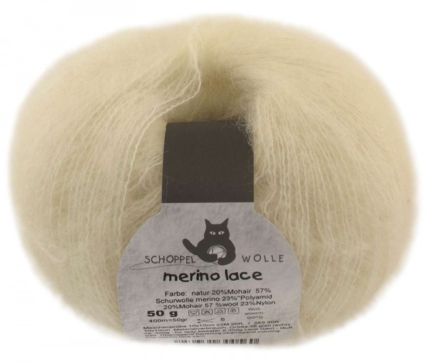 Merino Lace ''Natur'' 57% Wolle, 23% Polyamid, 20% Mohair