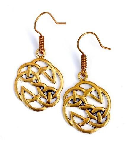 Paar Bronzeohrringe 'Keltischer Knoten' - Accessoire, Schmuck für Mittelalter, LARP und Alltag