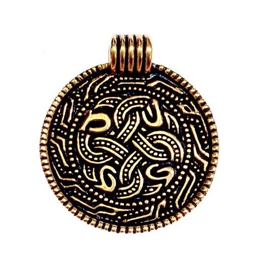 Angelsächsisches Schlangenamulett - Bronze Anhänger Replik