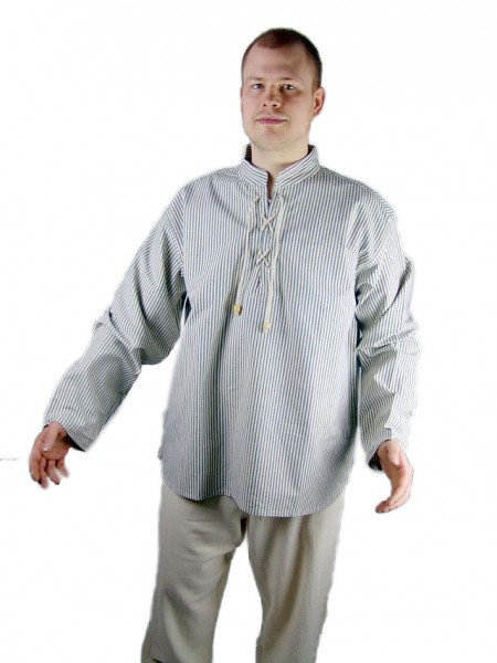 Gestreiftes Stehkragen Schnürhemd