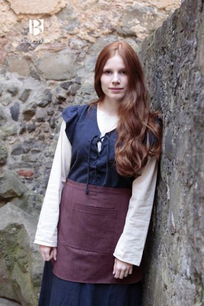 Frauengewand Agga mit Schürze, Blau Mittelalterliches vom Burgschneider