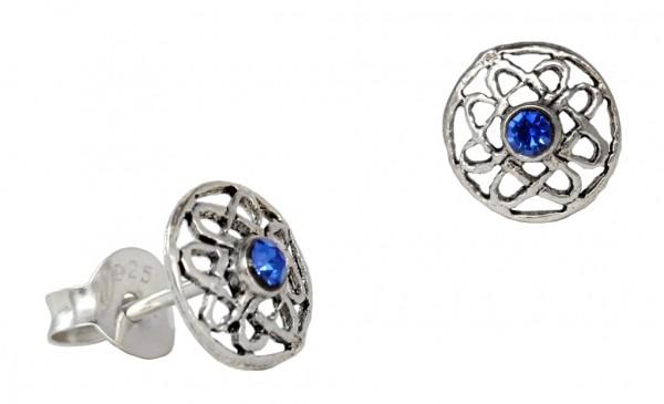 Ohrstecker 'Blodeuwedd Keltische Lebensblume blauer Kristall' Sterling Silber 925 - Schmuck für Mitt