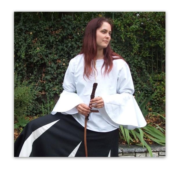 Mittelalter Bluse 'Dorethin' mit Volants - Maßanfertigung Baumwolle