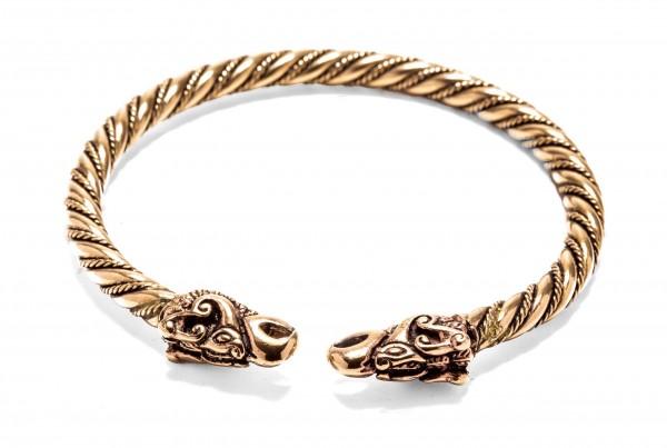 Armreif Armschmuck 'Dracon' mit Wikinger Drachenköpfen aus Bronze